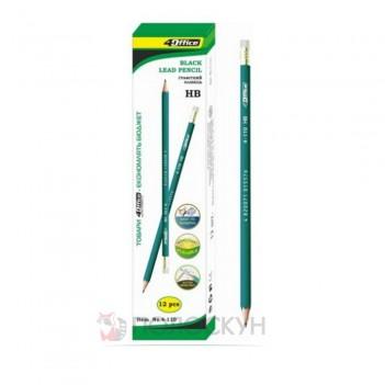 Олівець графітний з ластиком НВ 4Office