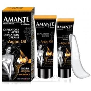 Набір крем для депіляції + крем після депілації Арганова олія Amante