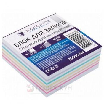 Блок для записів біло-кольоровий Клеєний 85х85 Navigator