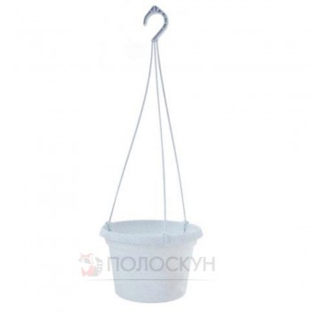 Вазон з підвіскою Глорія 25х16 см Білий флок
