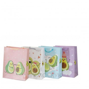 Подарунковий пакет картоний з аплікацією та глітером Авокадо 26х32х10см