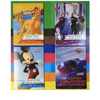Картон кольоровий двосторонній Мікс Disney 8 кольорів