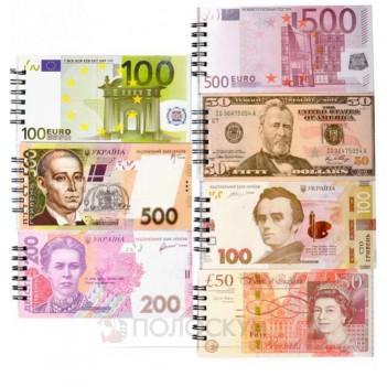 Блокнот на спіралі сувенірні Валюти-світу