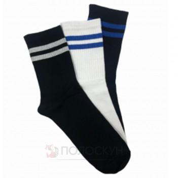 Шкарпетки чоловічі №400 Спорт (чорні, білі, сині) 27-29р Нова Лінія