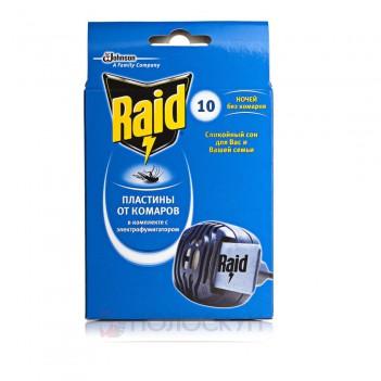 Електрофумігатор від комарів  в комплекті з 10 пластинами Raid
