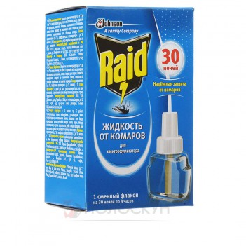 Рідина від комарів для електрофумігаторів 30 ночей Raid