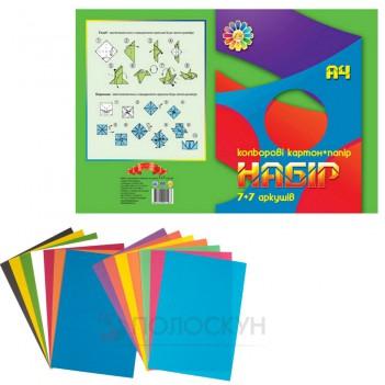 Набір кольоровий папір та кольоровий картон Тетрада