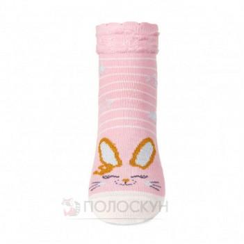 Дитячі шкарпетки рожеве зайченя з люрексу 14-16р V&T