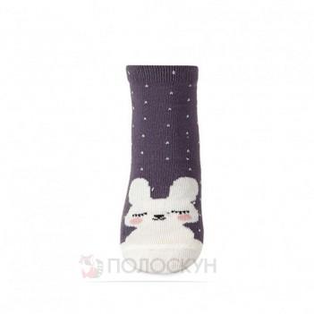 Дитячі бузкові шкарпетки з зайчиками 8-10р V&T