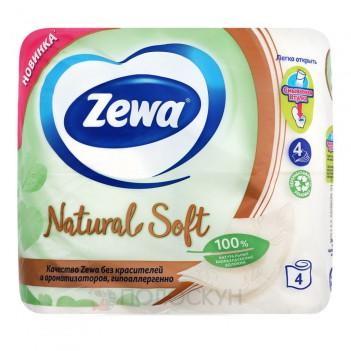 Туалетний папір Бежева Natural Soft 4 шари Zewa