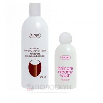 Набір крем-мило для душу Кокос та крем-гель для інтимної гігієни з молочною кислотою Ziaja