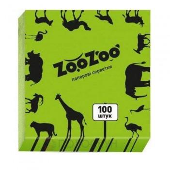 Серветки до столу Зелені 24х23см одношарові ZooZoo